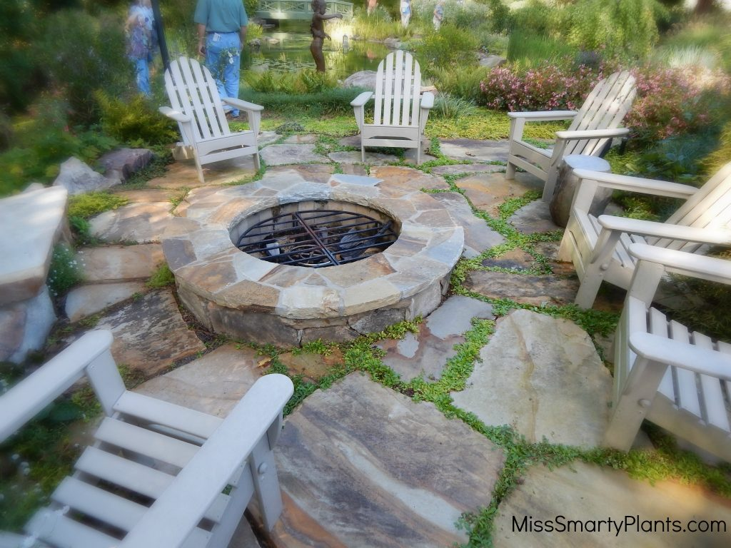 Private garden of Arthur Blank fire pit
